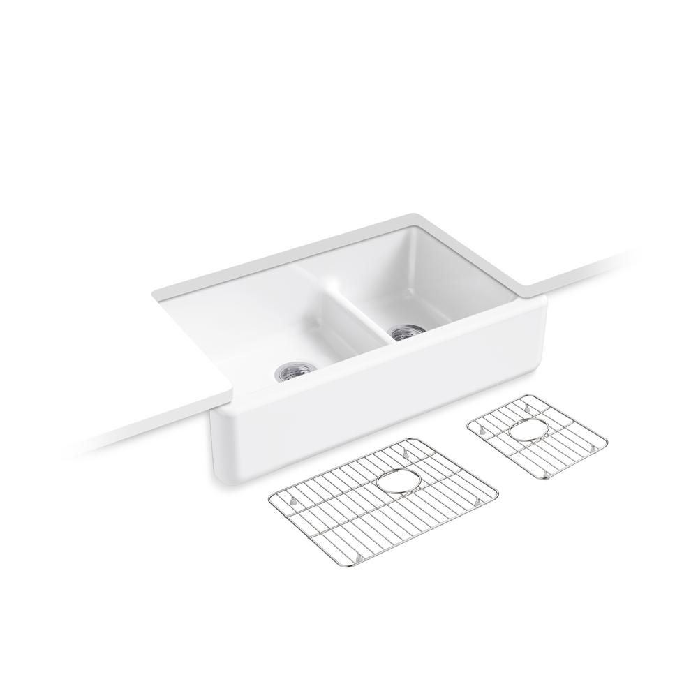 Whitehaven SmartDivide Undermount Farmhouse Tall Apron Front 36 in. Double Bowl Kitchen Sink White with Basin Racks