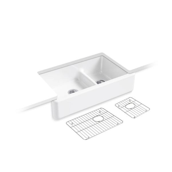 Kohler Whitehaven Smartdivide Undermount Farmhouse Tall Apron Front 36 In Double Bowl Kitchen Sink White With Basin Racks K 6427 0 5828 St 5874 St The Home Depot
