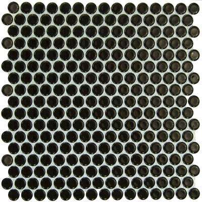 Bliss Penny Round Polished Black Ceramic Mosaic Floor and Wall Tile - 3 in. x 6 in. Tile Sample