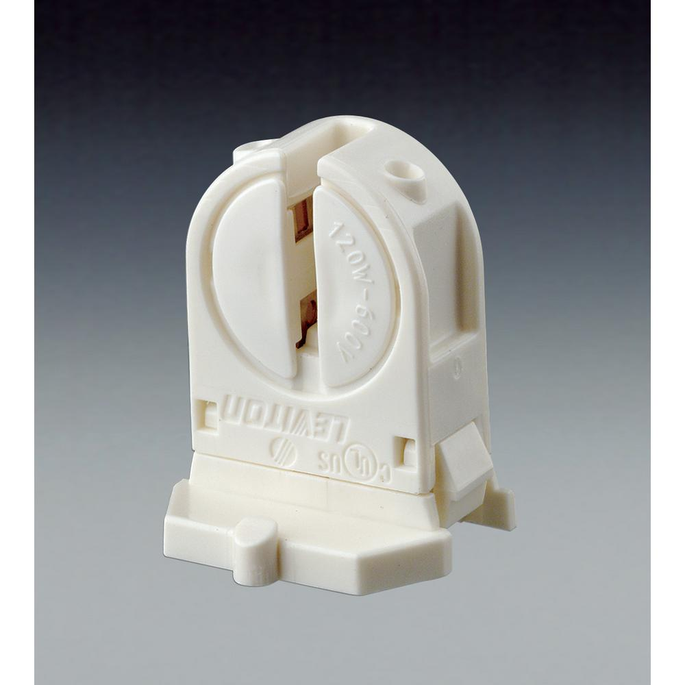 Leviton 120W Low Profile Miniature Base T5 Bi Pin Lamp Center Snap-In/Slide-On Fluorescent Lampholder, White