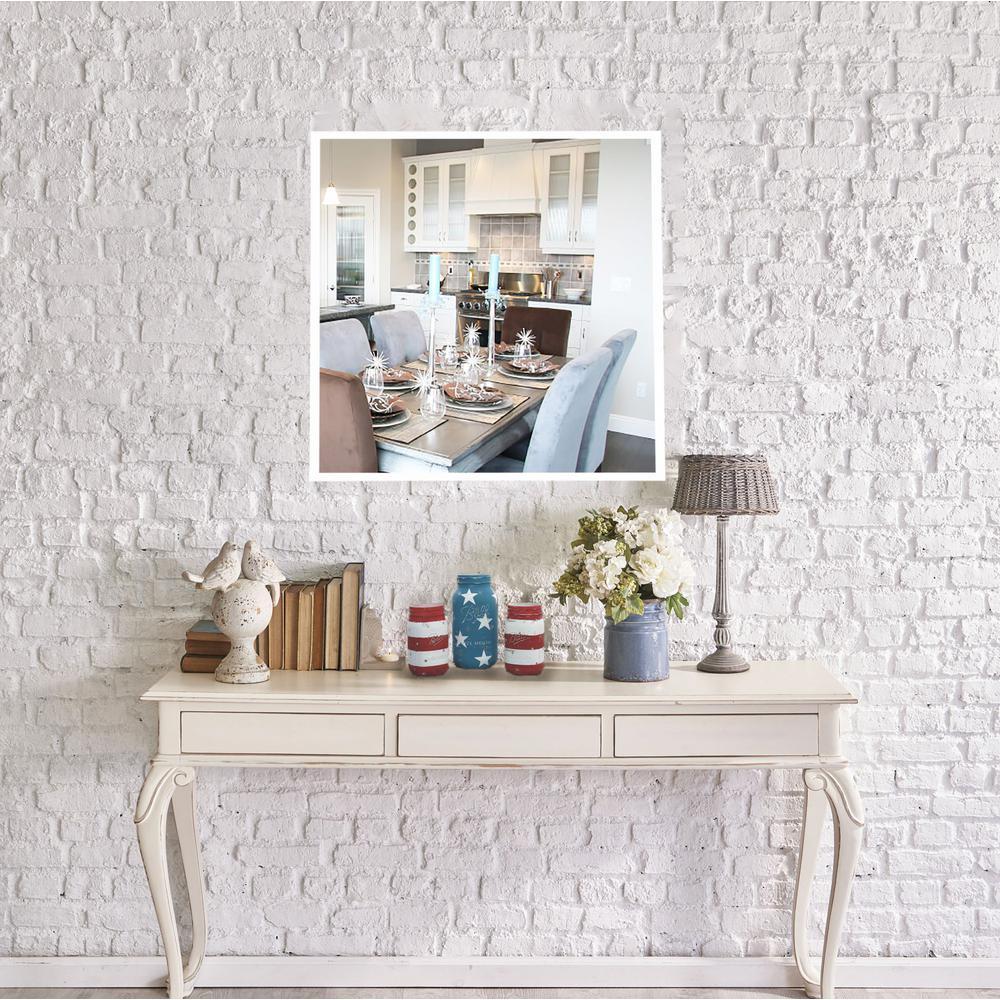 30.4375 inch x 30.4375 inch Brite White Square Mirror by
