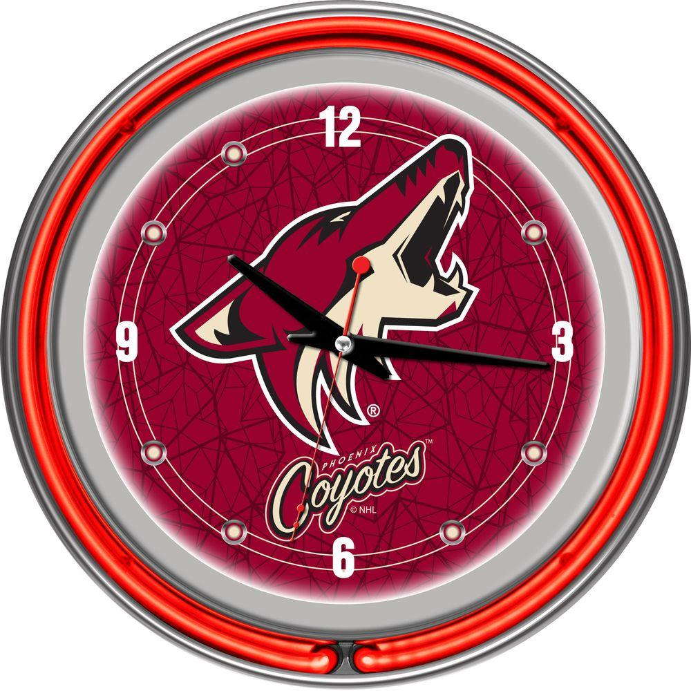 Trademark Global 14 in. Phoenix Coyotes NHL Neon Wall Clock