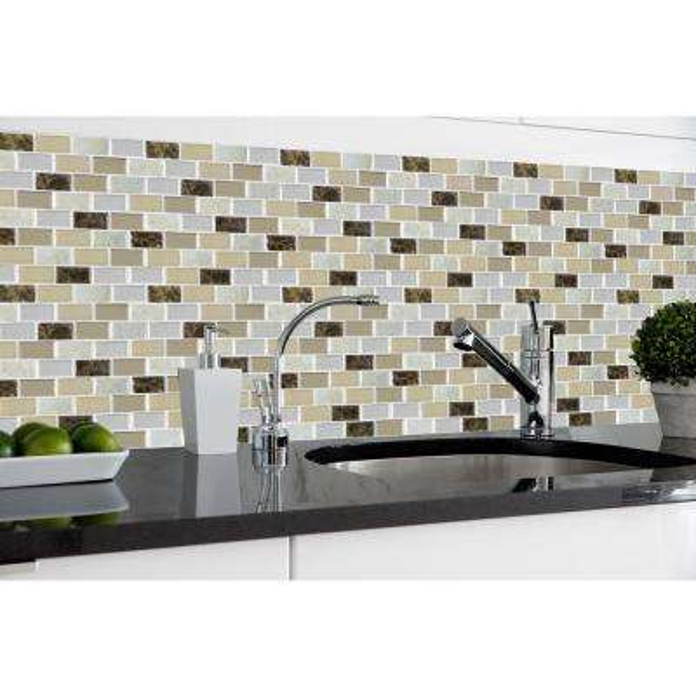 Granite 9.125 in. x 9.125 in. Bronze Magic Gel Decorative Mosaic Wall Tile (3-Pack)