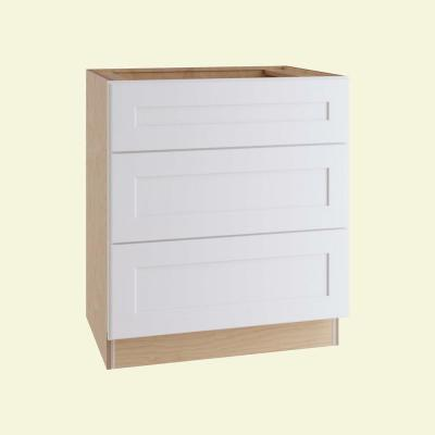 Newport Assembled 30x34.5x24 in Plywood Shaker 3 Drawer Base Kitchen Cabinet Soft Close Drawers in Painted Pacific White