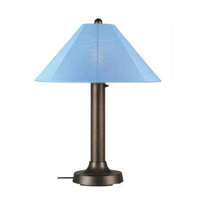 Catalina 34 in. Bronze OutdoorTable Lamp with Sky Blue Shade