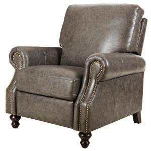 Internet #302219208. Home Decorators Collection Marco Grey Leather Recliner  sc 1 st  The Home Depot & Home Decorators Collection Marco Grey Leather Recliner-9948500130 ... islam-shia.org