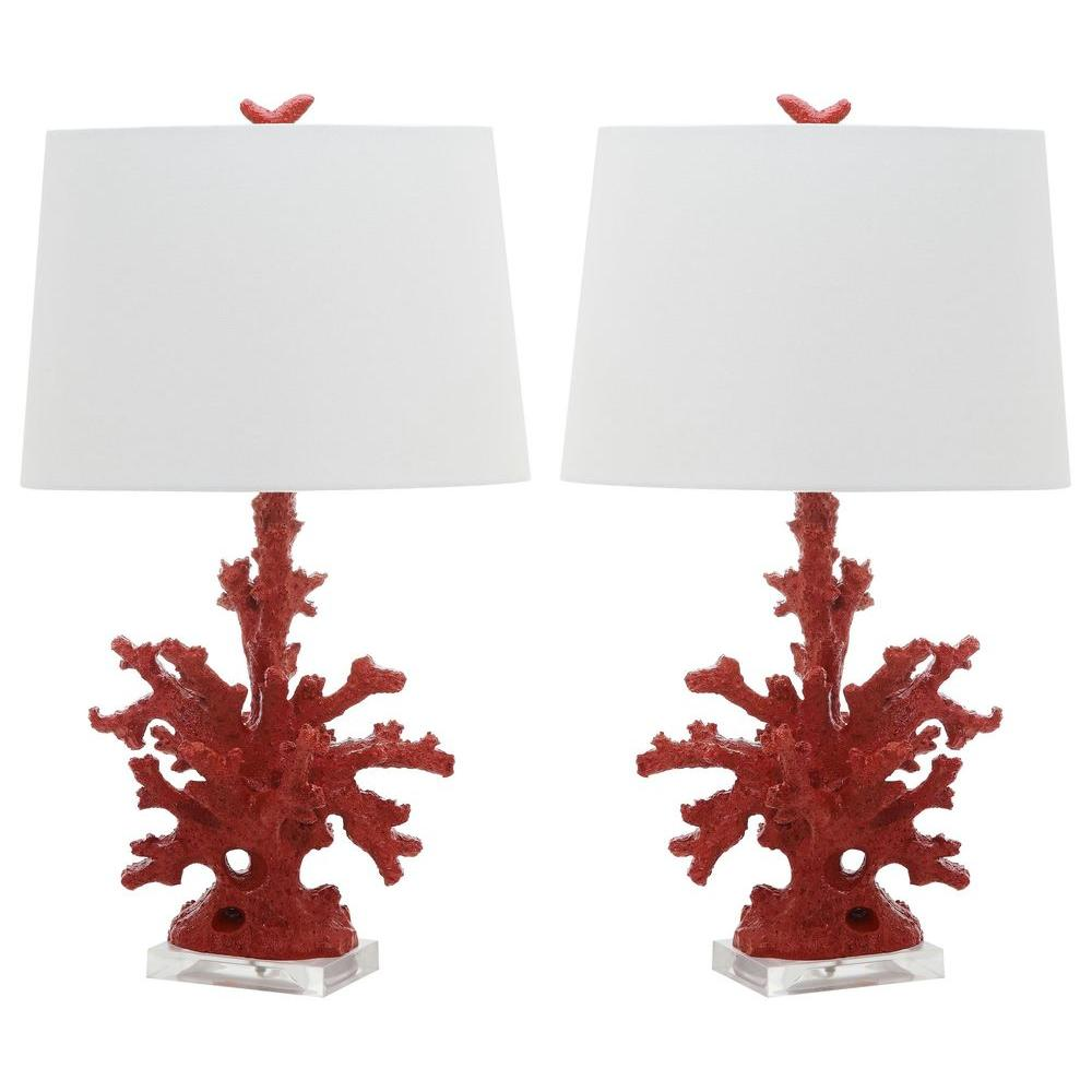 Safavieh Coral 28 In. Red Branch Table Lamp (Set Of 2)