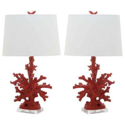 Coral 28 in. Red Branch Table Lamp (Set of 2)