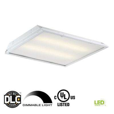 2 ft. x 2 ft. 96-Watt Equivalent White Prismatic Lens Integrated LED Commercial Grid Ceiling Troffer