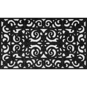 Wrought Iron Collection Black Half Round Daisy 30 inch x 18 inch Rubber Outdoor/Indoor Door Mat by