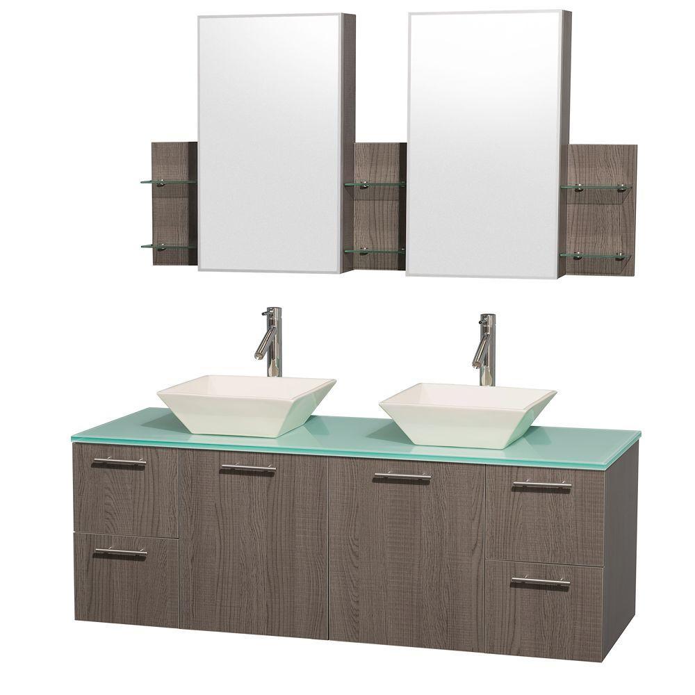Amare 60 in. Double Vanity in Grey Oak with Glass Vanity