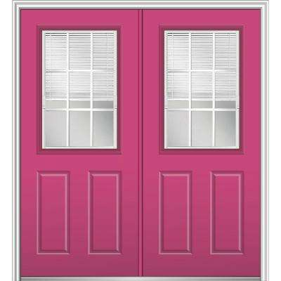 64 in. x 80 in. Internal Blinds and Grilles Left-Hand 1/2-Lite Clear Low-E Painted Fiberglass Smooth Prehung Front Door