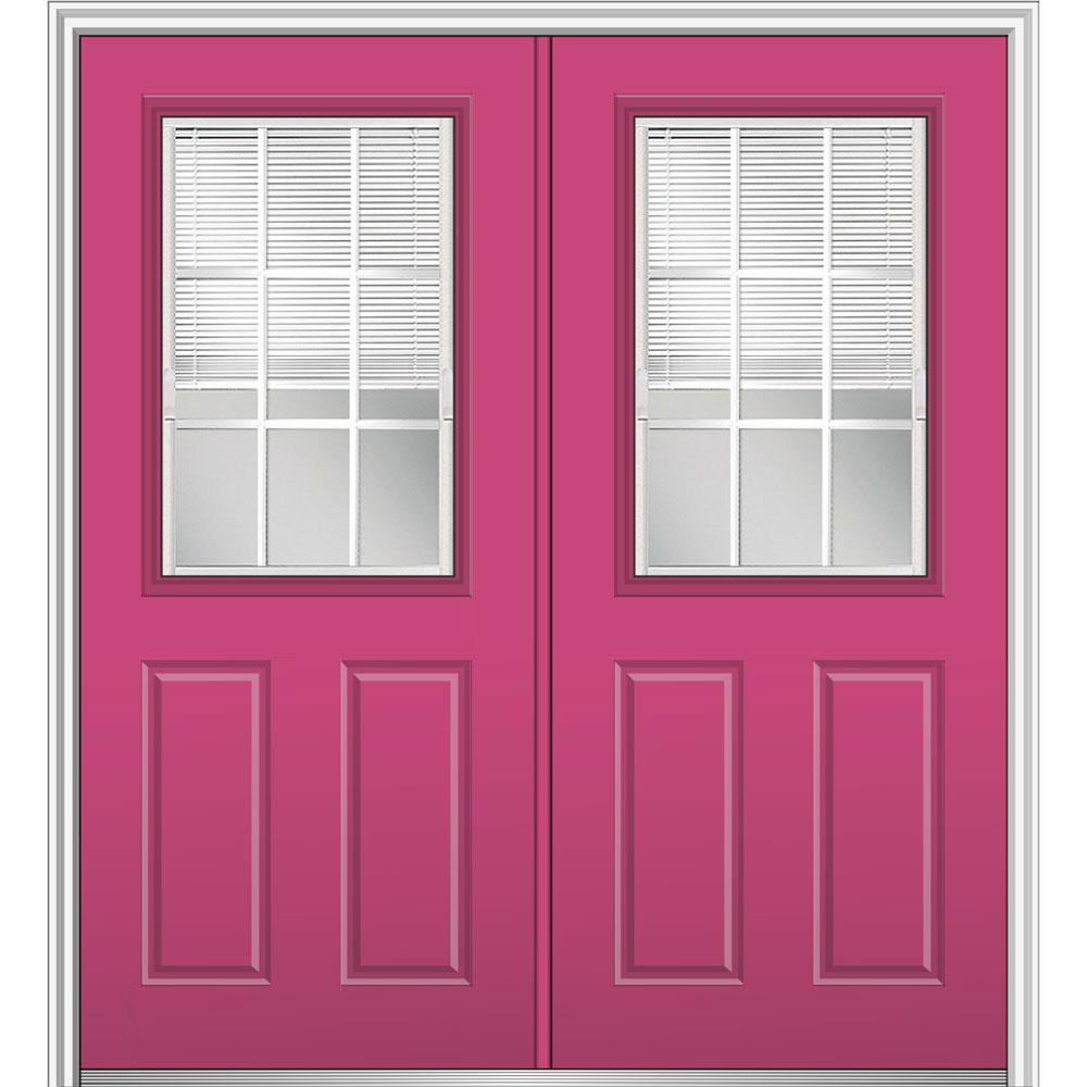 64 in. x 80 in. Internal Blinds GBG Low-E Glass Left-Hand Classic 1/2-Lite Painted Steel Prehung Front Door
