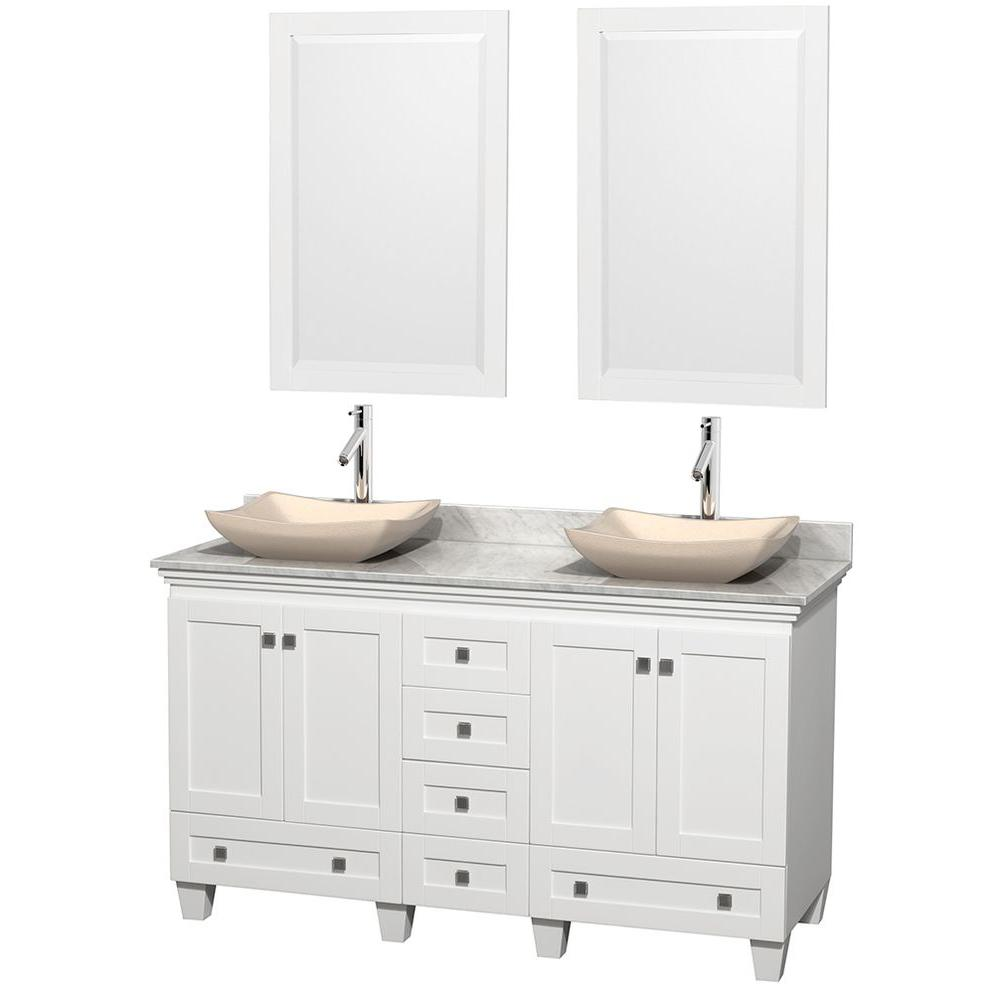 Wyndham Collection Acclaim 60 in. W Double Vanity in White with Marble Vanity Top in Carrara White, Ivory Sinks and 2 Mirrors