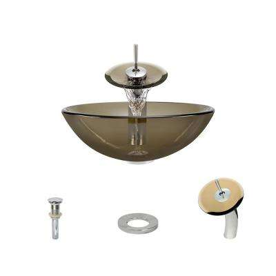 Glass Vessel Sink in Taupe with Waterfall Faucet and Pop-Up Drain in Chrome
