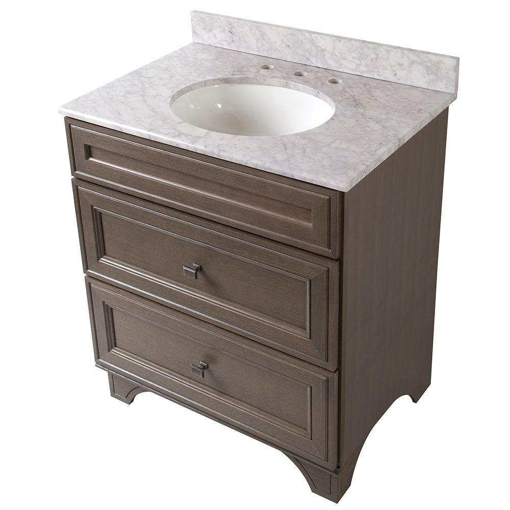 Home Decorators Collection Albright 31 in. Vanity in Winter with Stone Effects Vanity Top in Carrera