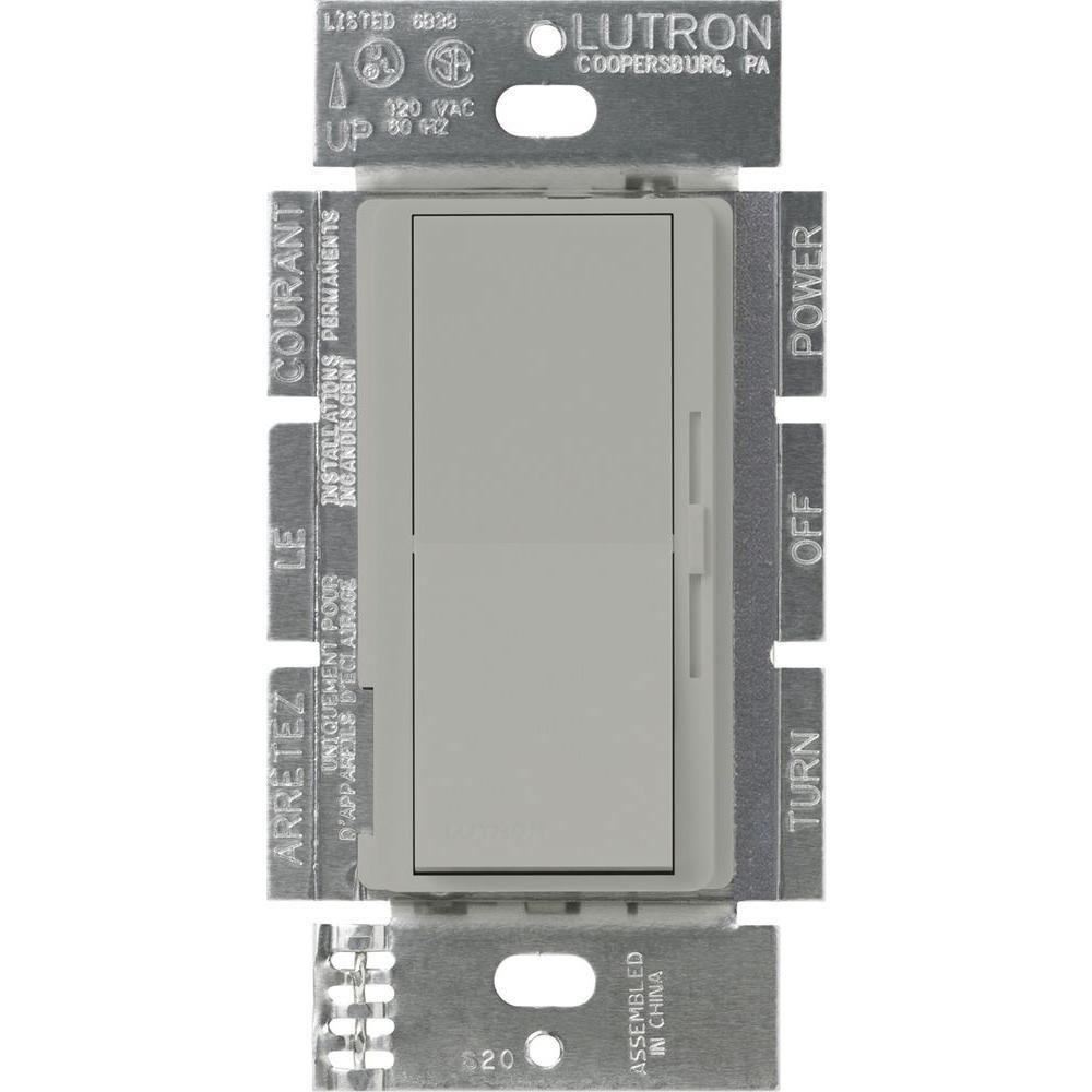 Diva Dimmer for 0-10V LED/Fluourescent Fixtures, 8-Amp, Single-Pole or 3-Way, Gray