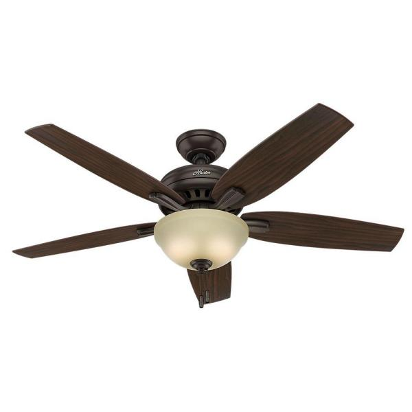 Newsome 52 in. Indoor Premier Bronze Bowl Ceiling Fan Bundled with Light Kit and Handheld Remote Control