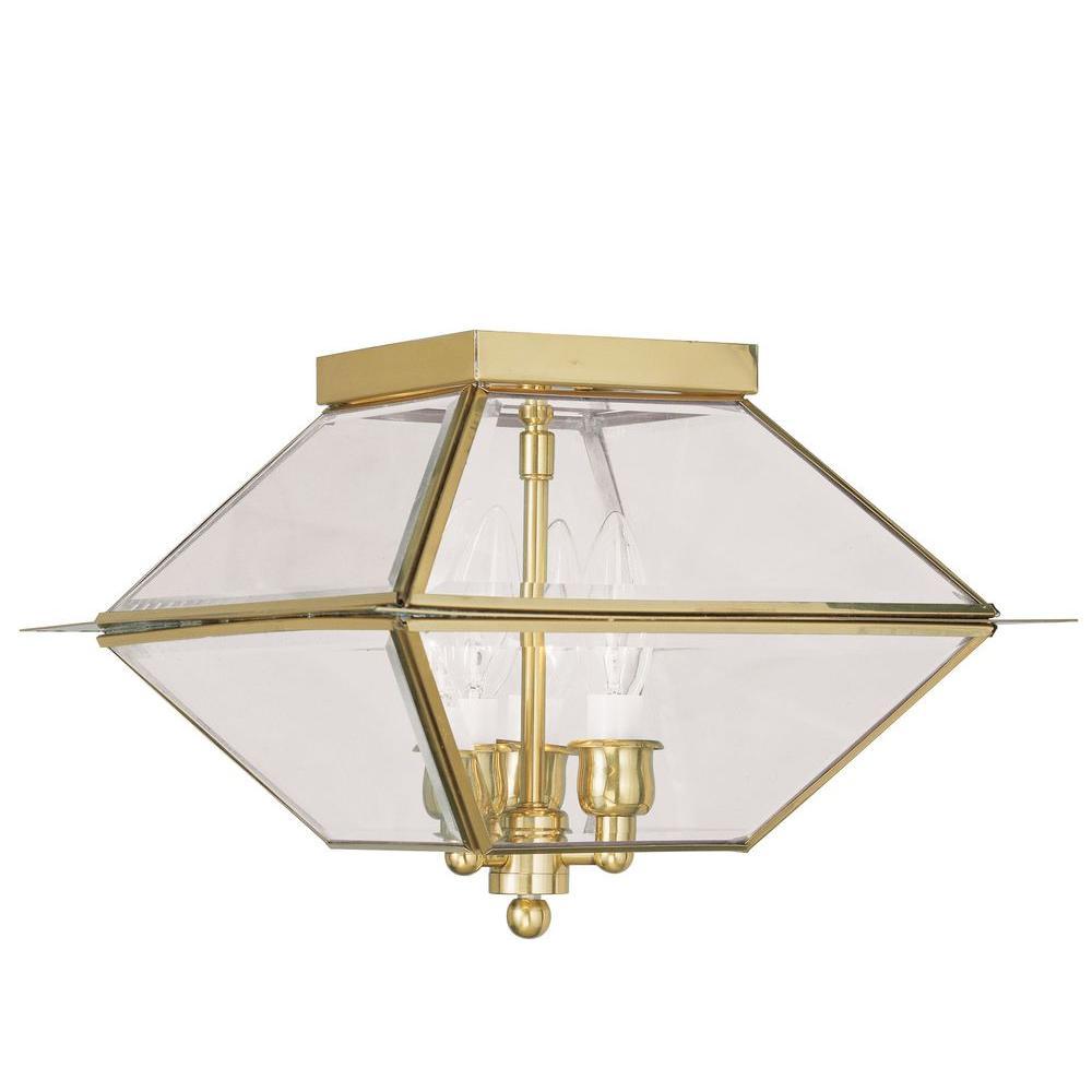 Livex Lighting Providence 3-Light Polished Brass Outdoor Incandescent Hanging Lantern