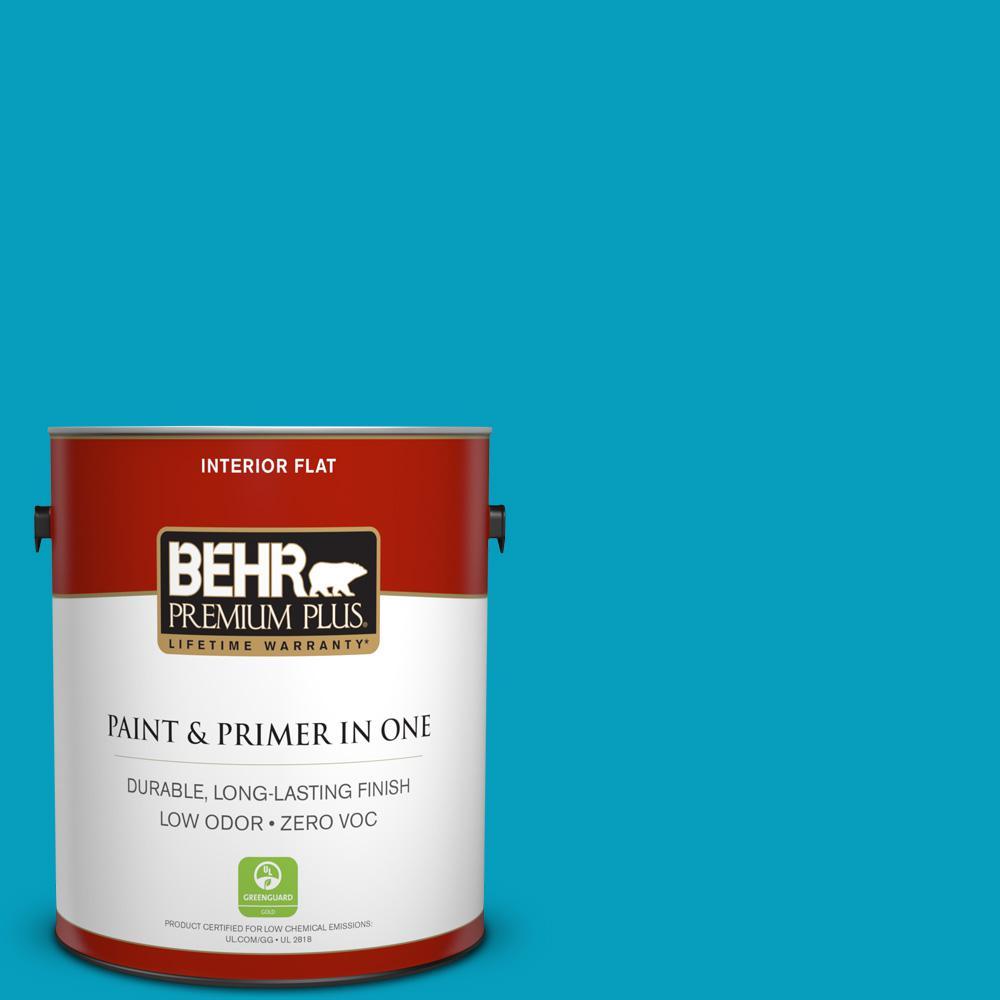 BEHR Premium Plus 1 gal. #520B-6 Brilliant Sea Flat Zero VOC Interior Paint and Primer in One