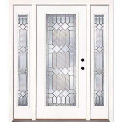 63.5 in.x81.625 in. Mission Pointe Zinc Full Lite Unfinished Smooth Left-Hand Fiberglass Prehung Front Door w/ Sidelites