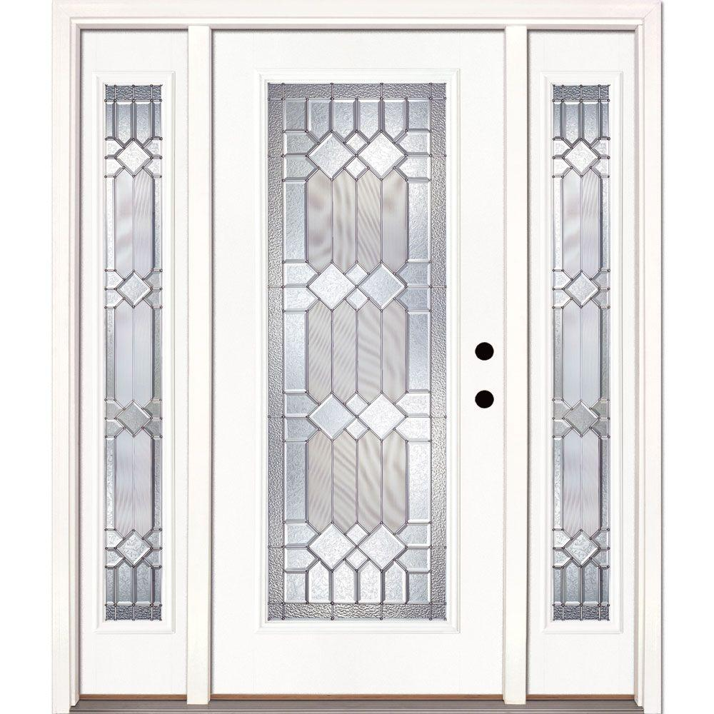 Feather River Doors 67.5 in.x81.625 in. Mission Pointe Zinc Full Lite Unfinished Smooth Left-Hand Fiberglass Prehung Front Door w/ Sidelites