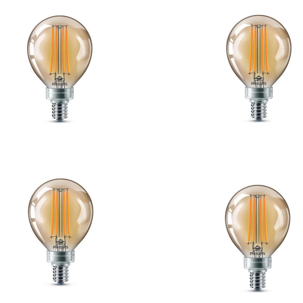 Led Light Bulb Candelabra Base: Philips 40-Watt Equivalent G16.5 Dimmable Vintage Edison