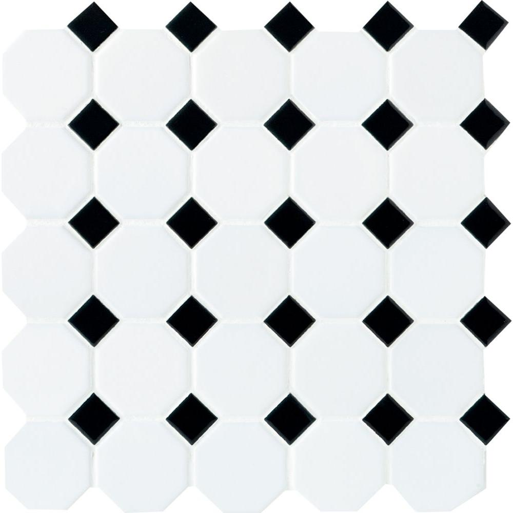 Daltile Octagon And Dot Matte White With Black 12 In X