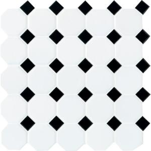 Daltile Matte White With Black Dot 12 In X 12 In X 6 Mm