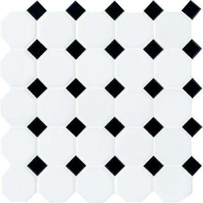 Octagon and Dot Matte White with Black Dot 12 in. x 12 in. x 6 mm Ceramic Mosaic Tile
