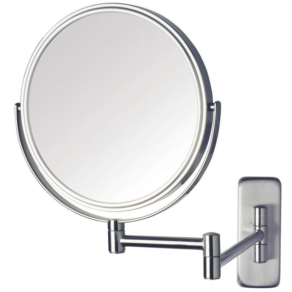 Jerdon 8 in dia wall mounted mirror in nickel jp7506n for Wall mounted mirror