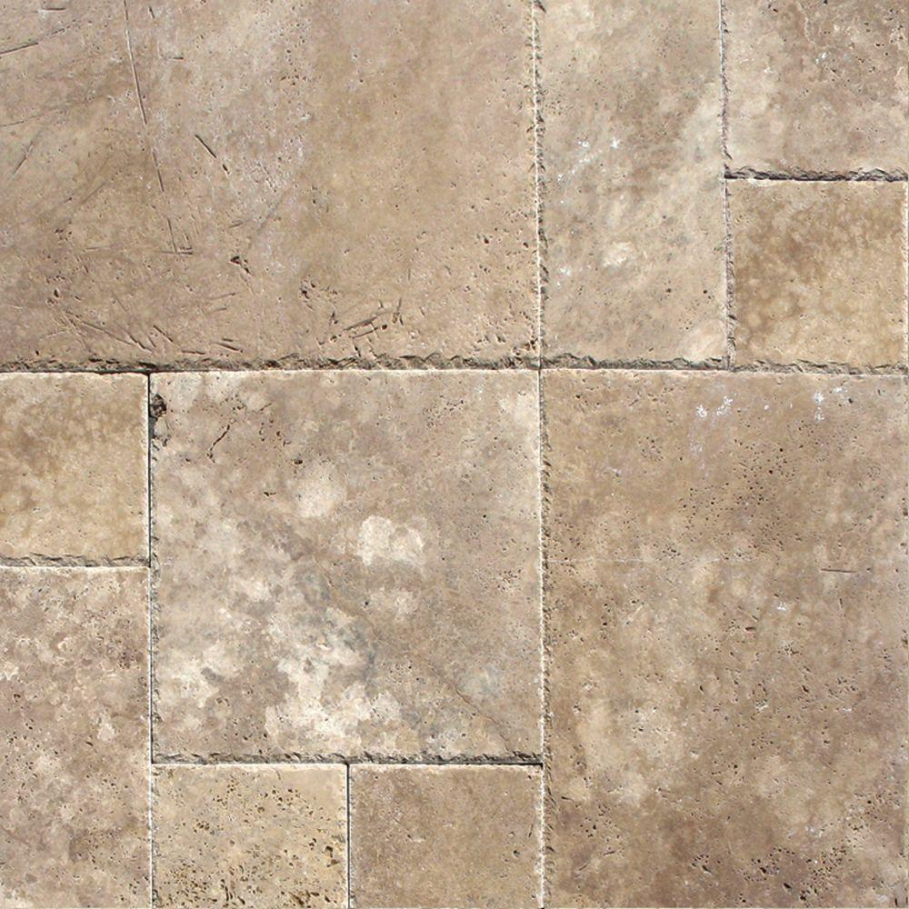 MS International Mediterranean Walnut Pattern Honed-Unfilled-Chipped Travertine  Floor and Wall Tile (
