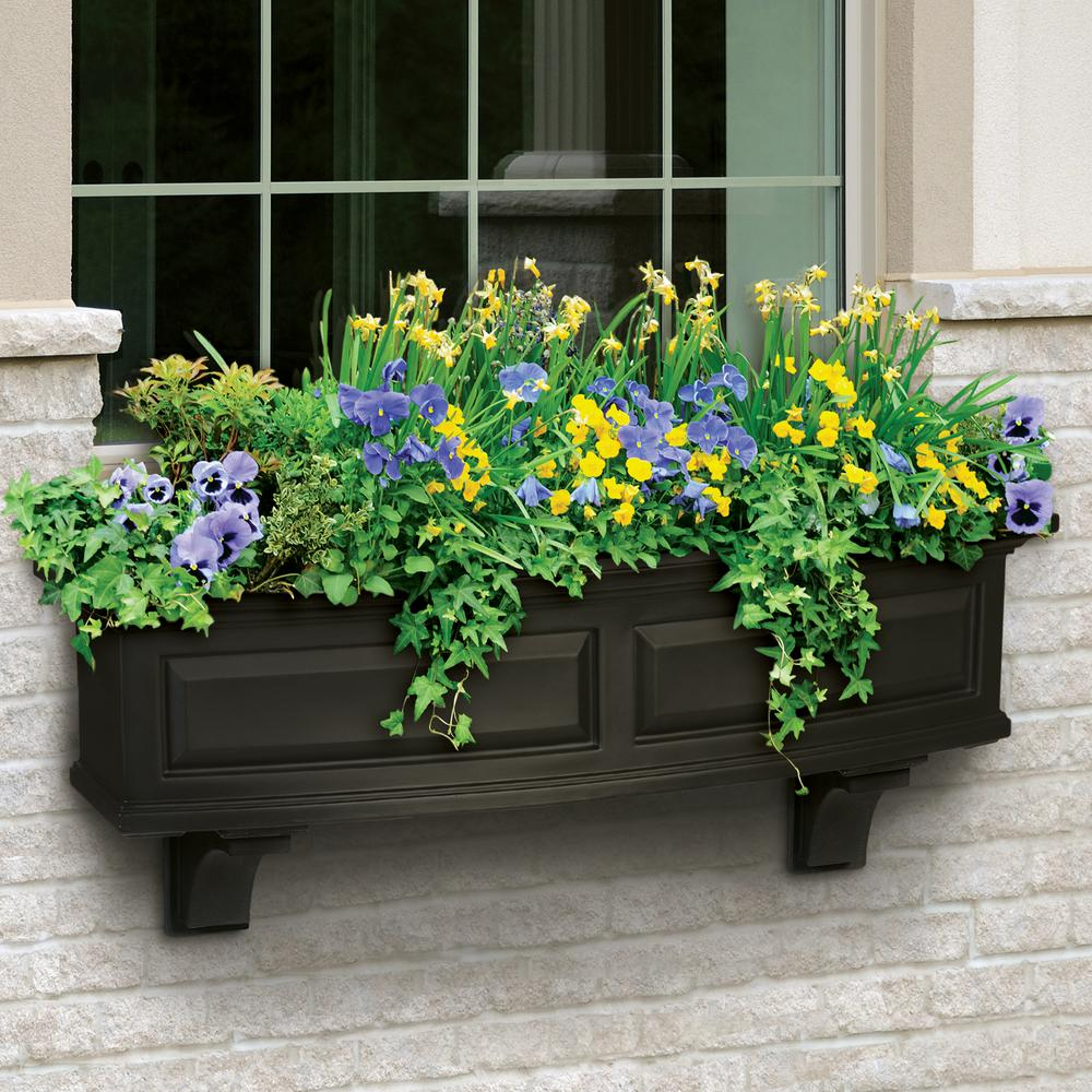 4 ft. Nantucket Black Plastic Window Box