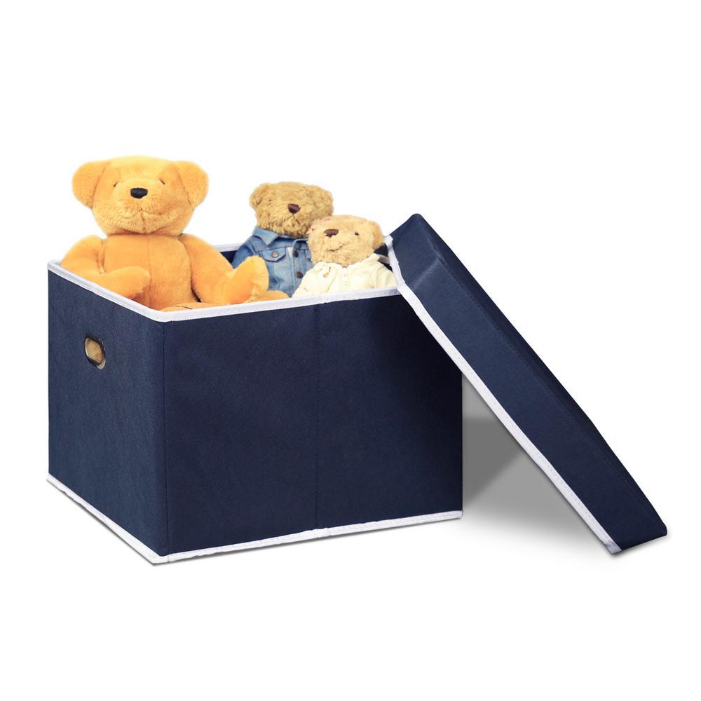 12.5 in. x 15.3 in. Heavy Duty Dark Blue Non-Woven Fabric Storage Bin