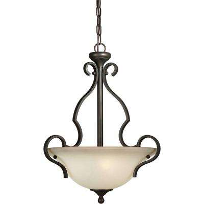 Burton 3-Light Antique Bronze Incandescent Pendant