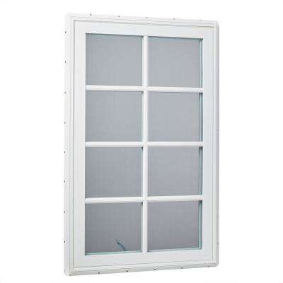 30 in. x 48 in. Right-Hand Vinyl Casement Window with Grids and Screen in White