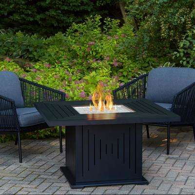 Cavalier 43 in. Aluminum Propane Fire Pit Table in Black with Natural Gas Conversion Kit