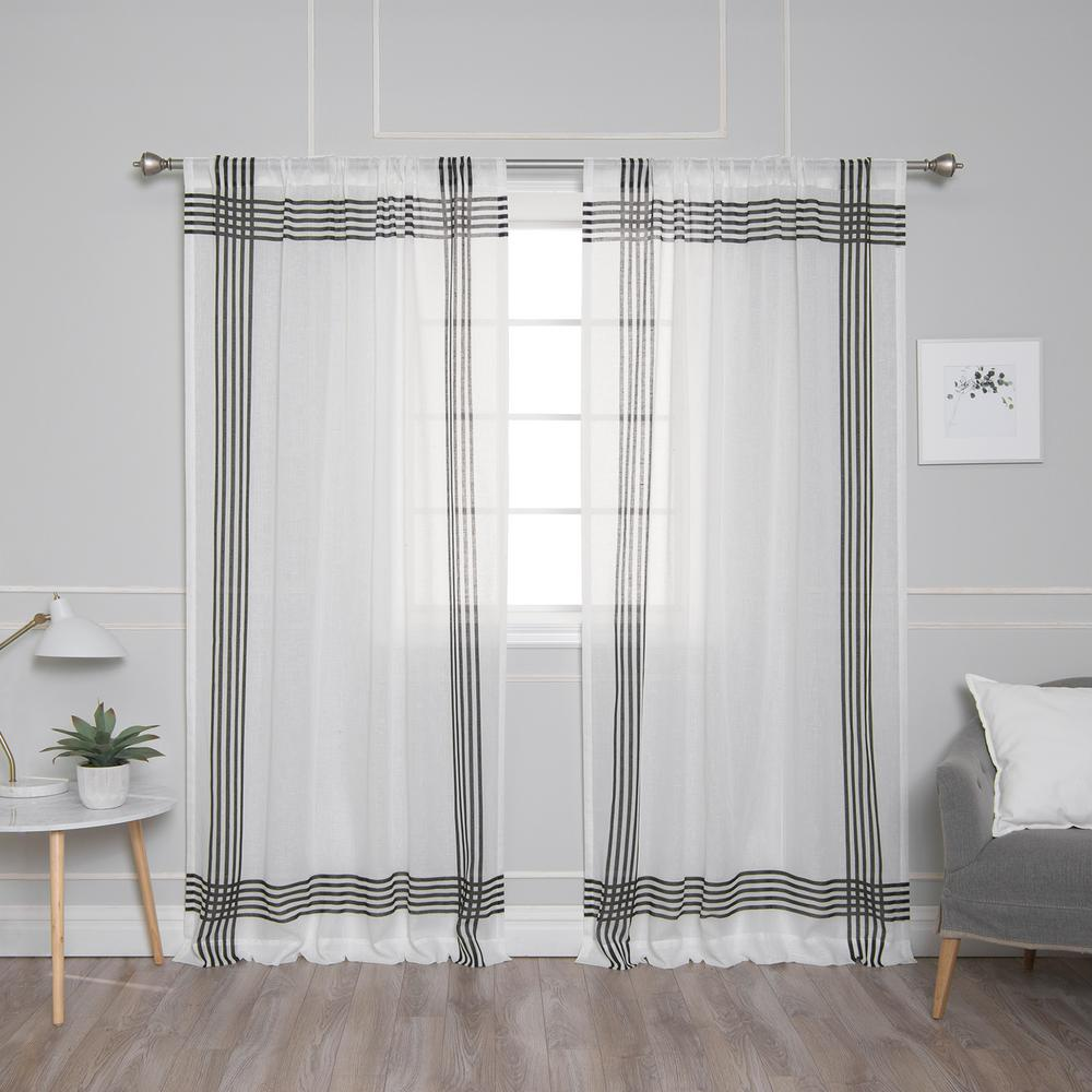 Best Home Fashion White Sheer Cross Stripe Border Curtain 52 In W X 84 In L 2 Pack