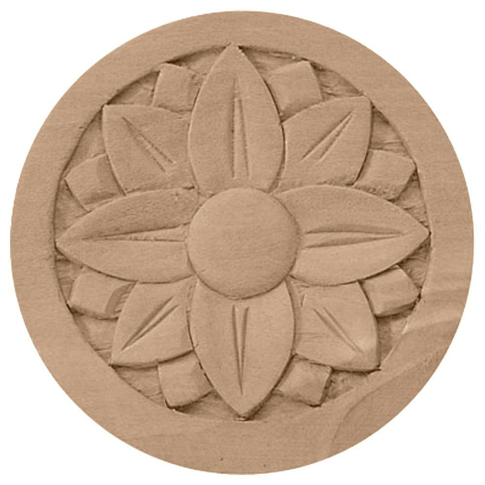 Ekena Millwork 5/8 in. x 4-1/4 in. x 4-1/4 in. Unfinished Wood Alder Bedford Rosette