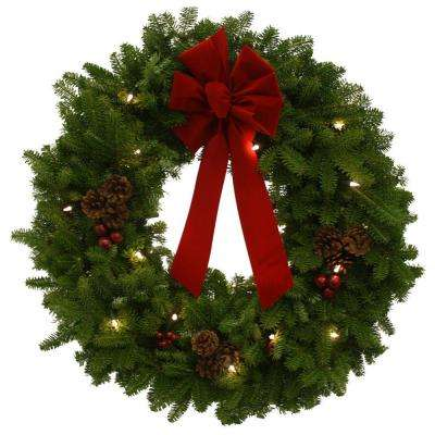 30 in. Balsam Fir Pre-Lit Classic Fresh Wreath : Multiple Ship Weeks Available