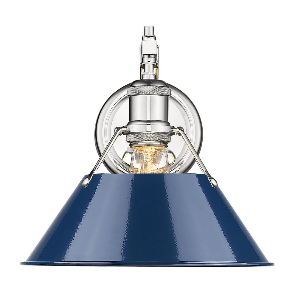 Orwell 1-Light Chrome with Navy Shade Wall Sconce
