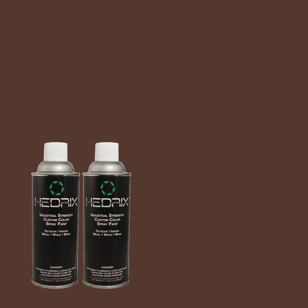 Hedrix 11 oz. Match of C60-75 Charcoal Brown Low Lustre Custom Spray Paint (2-Pack)