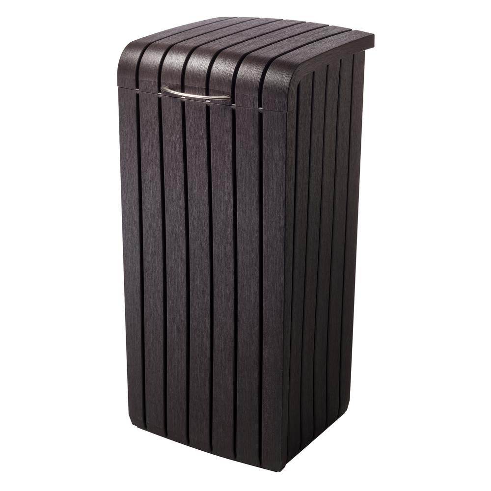 Keter Keter 30 Gal. Brown Copenhagen Wood Style Plastic Trash Can, Dark Brown Wood