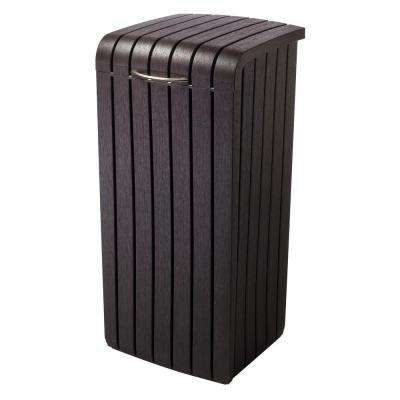 30 Gal. Brown Copenhagen Wood Style Plastic Trash Can