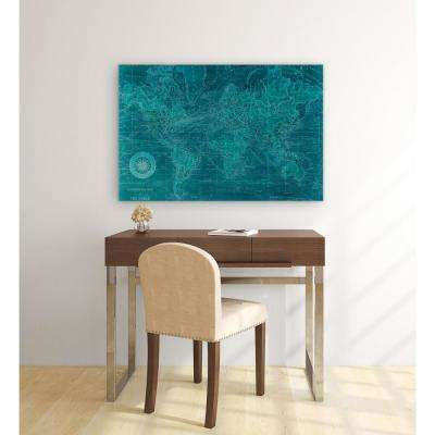 """48 in. x 32 in. """"Azure World Map"""" Frameless Free Floating Tempered Glass Panel Graphic Art"""