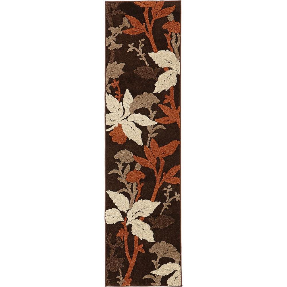 Blooming Flowers Brown/Rust 2 ft. x 7 ft. Runner Rug