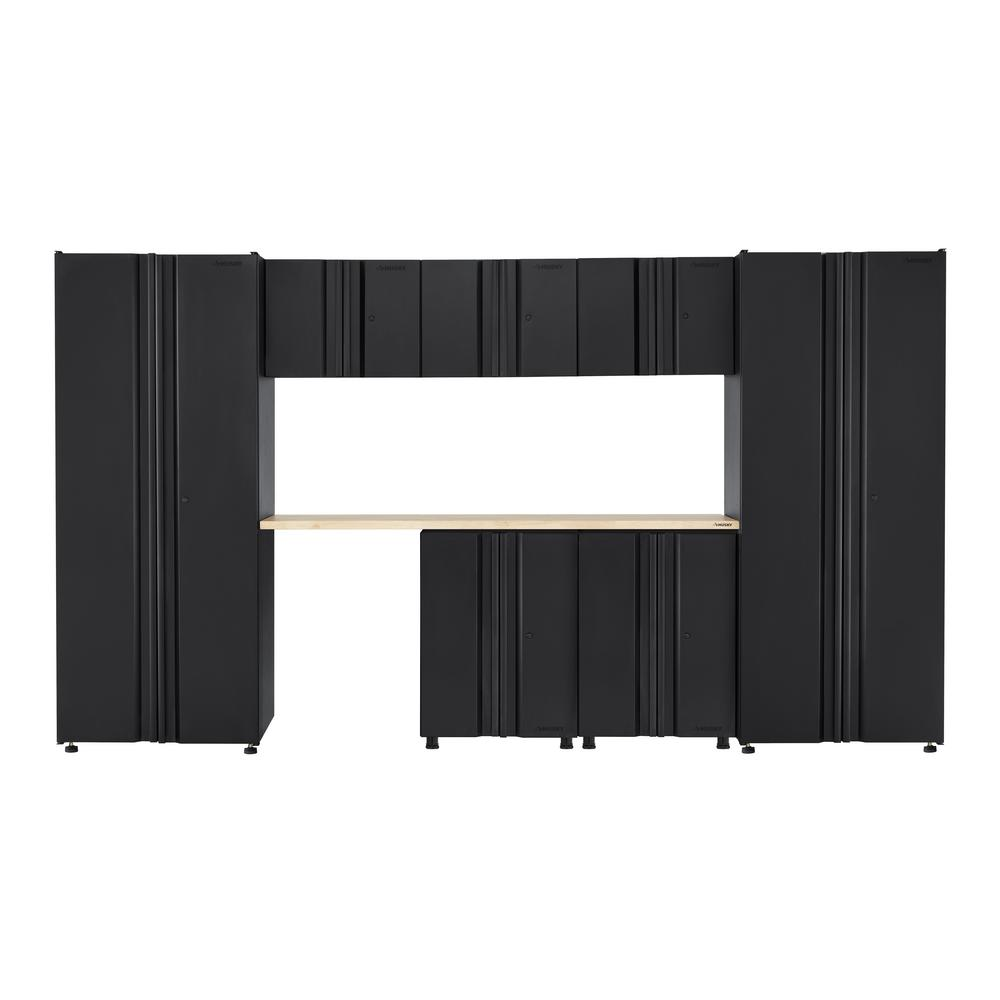 Husky Welded 133 in. W x 75 in. H x 19 in. D Steel Garage Cabinet Set in Black (8-Piece with Solid Wood Work Surface)