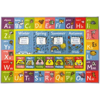 Multi-Color Kids Children Bedroom ABC Alphabet Seasons Months Educational Learning 8 ft. x 10 ft. Area Rug