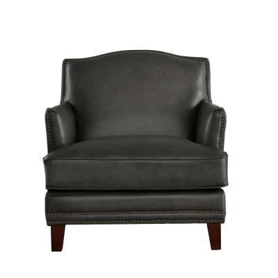 Oxford Gray 100% Leather Chair