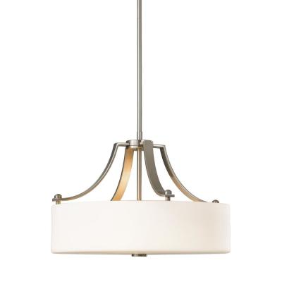 Sunset Drive 3-Light Brushed Steel Pendant with White Opal Etched Glass Shade